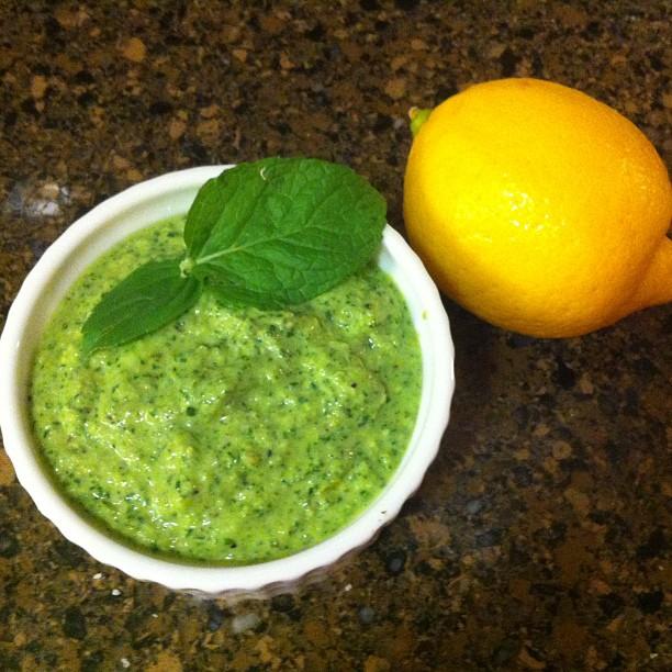 Home-garden grown lemon basil pesto sauce.