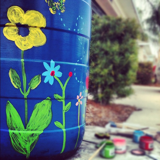 User: savkayaus | #paint #rainbarrel #barrel #art #artists #fun #paintbrush #cans #blue #colors